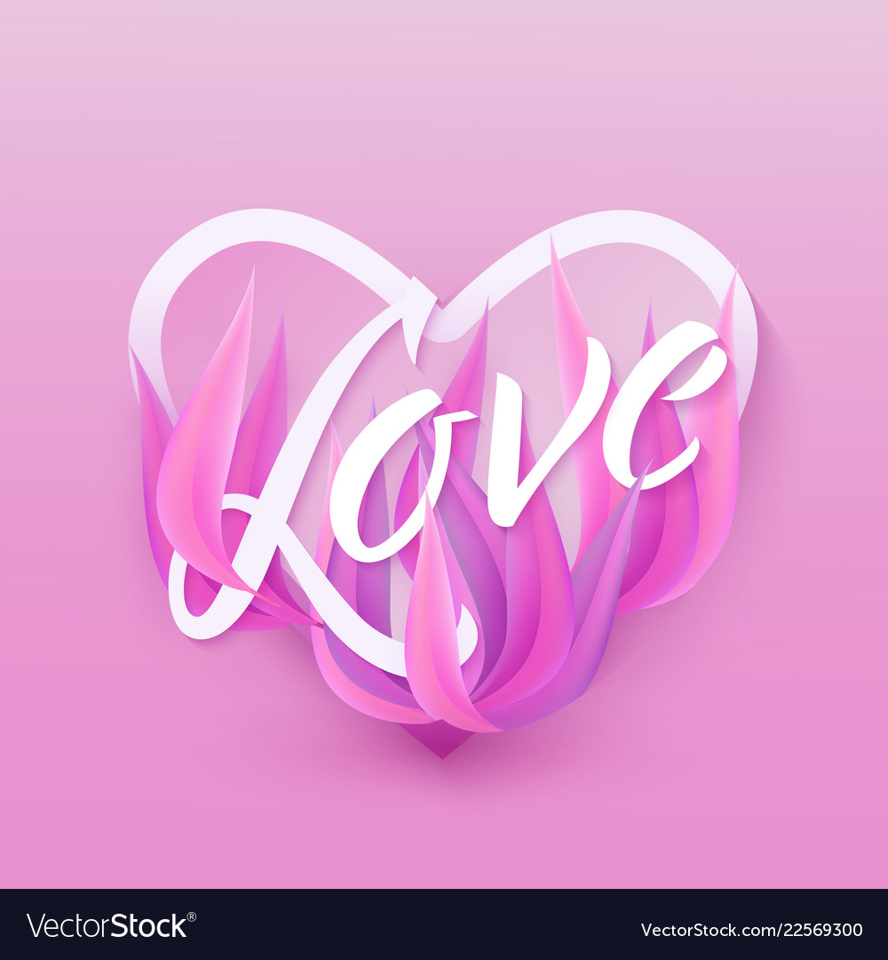 Flat love with purple leaves background