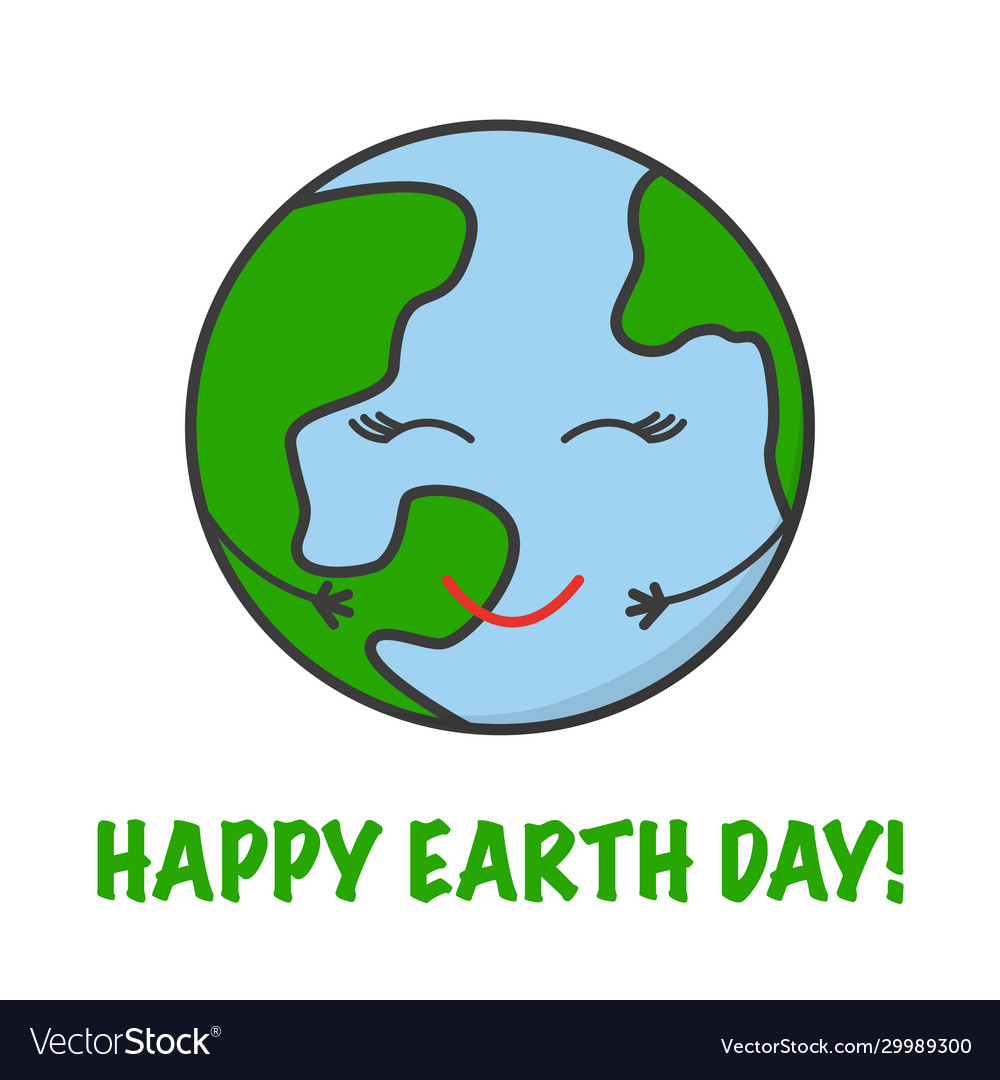 Go green save planet fun cute happy character