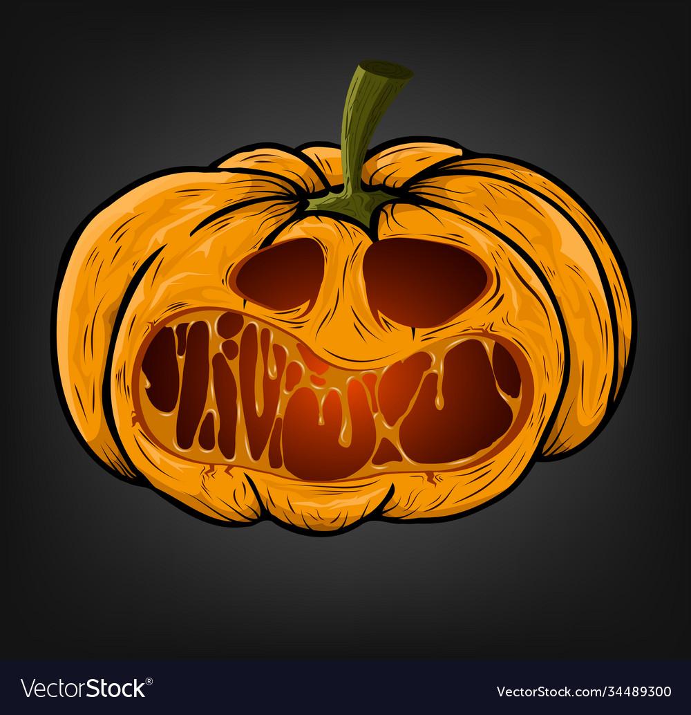 Halloween pumpkin with a creepy face on a dark