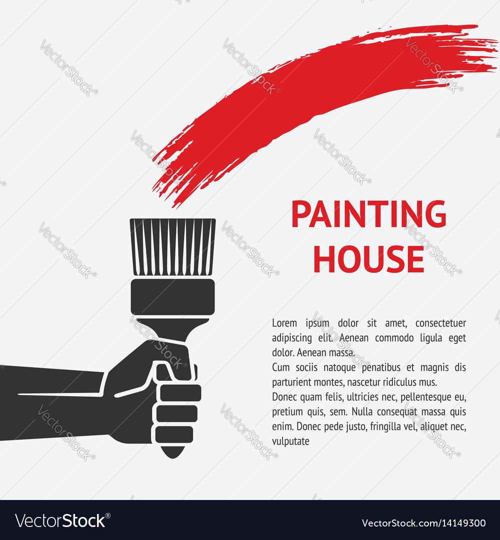 Hand with brush painting house concept