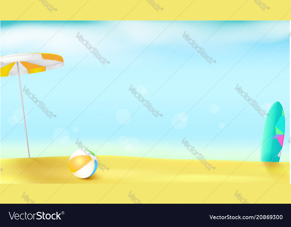 Horizontal summer background with sun umbrella