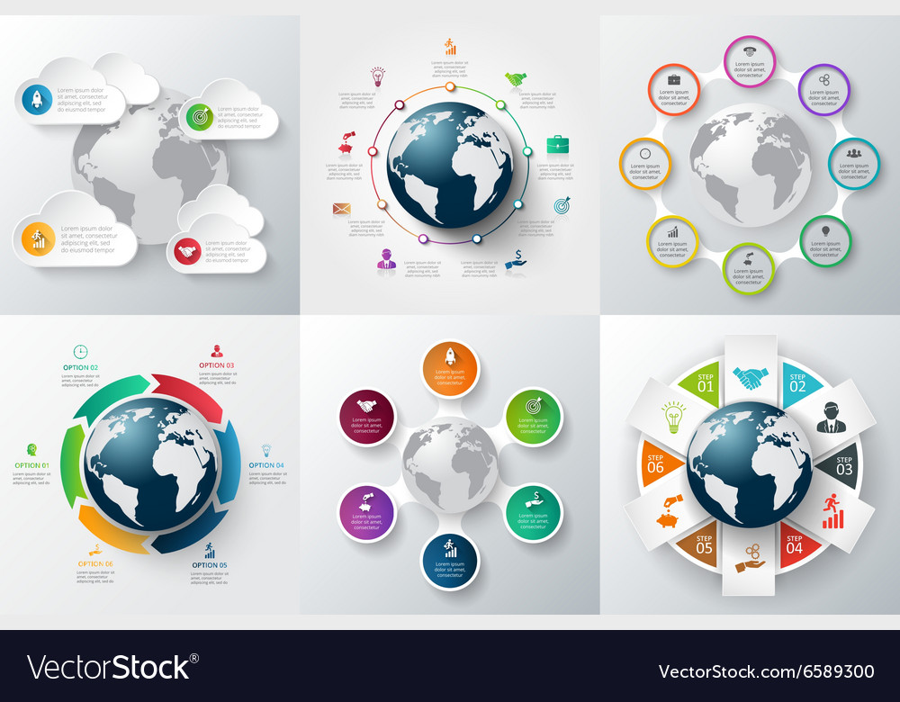 Infographics global template set vector image