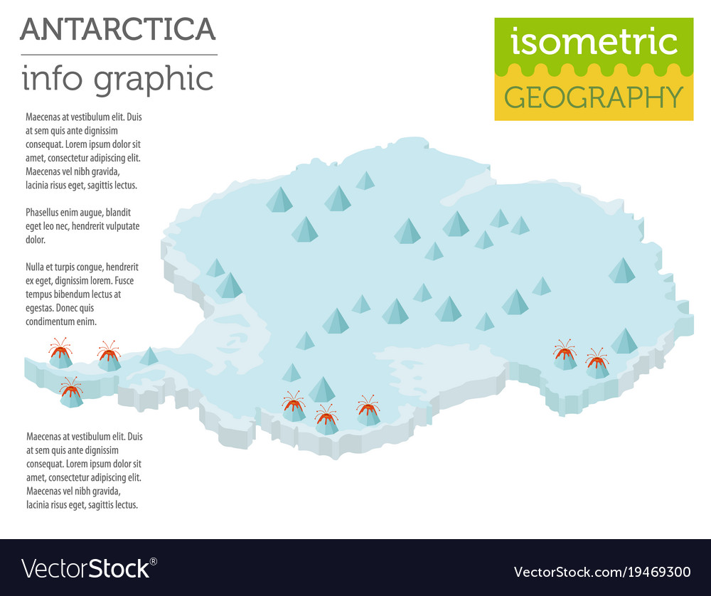 Isometric 3d antarctica physical map elements Vector Image