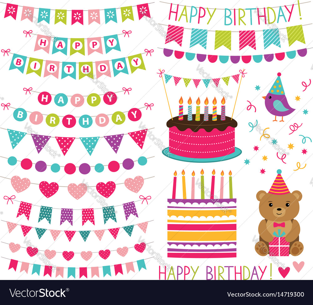 Kid birthday party set vector image