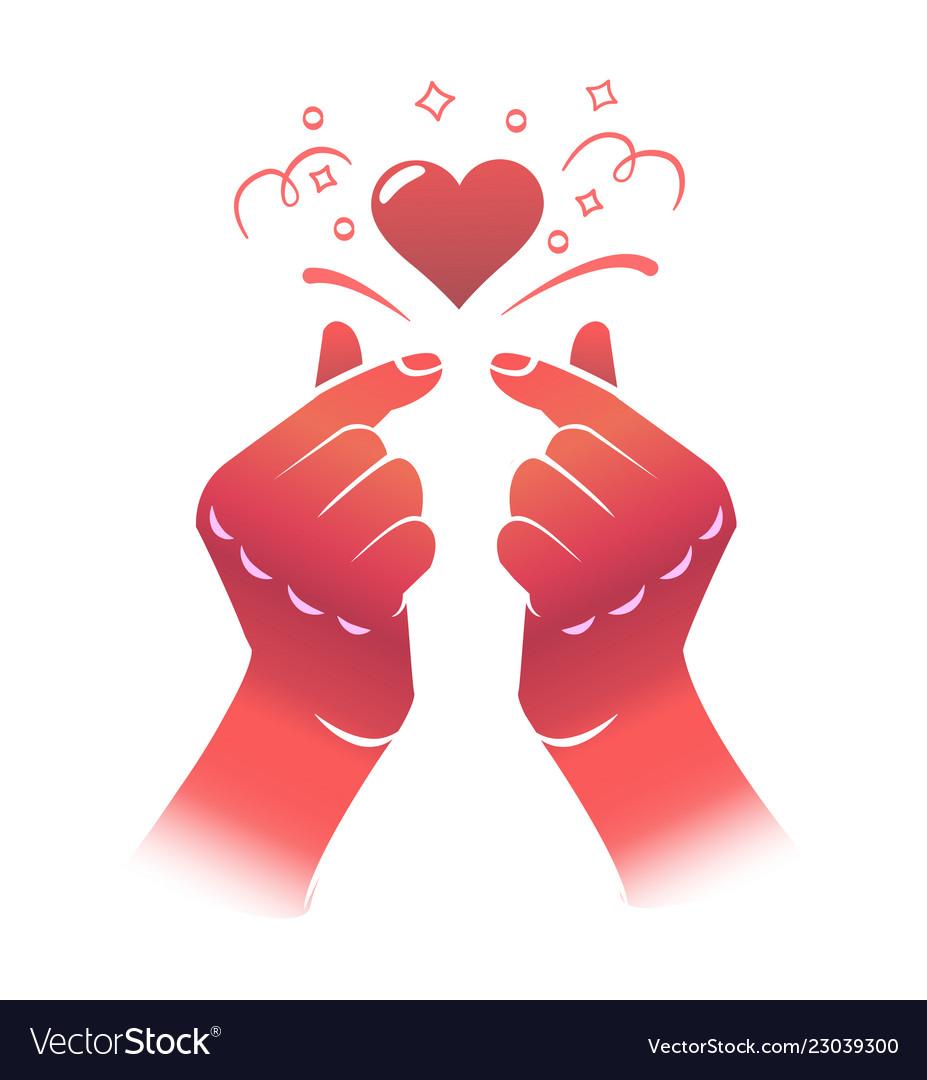 Korean love sign gesture symbol Royalty Free Vector Image