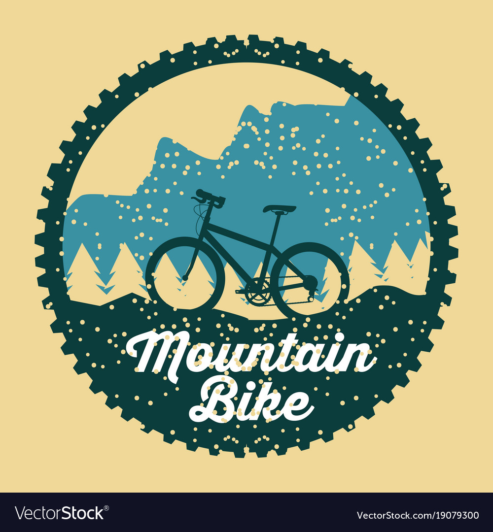 Mountain bike grunge badge fun sport
