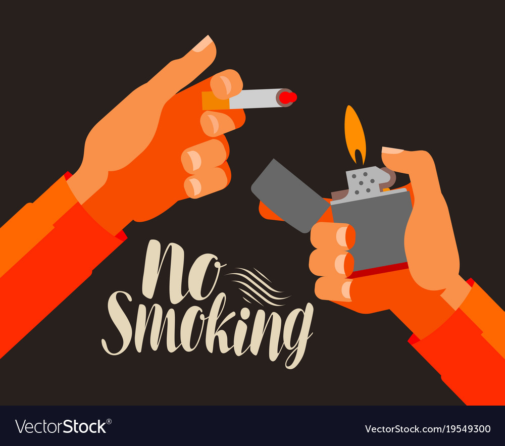 No Smoking Banner Nicotine Cigarette Tobacco Vector Image