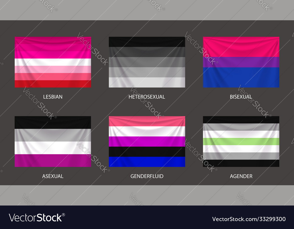 Realistic colorful sexual flags set with folds