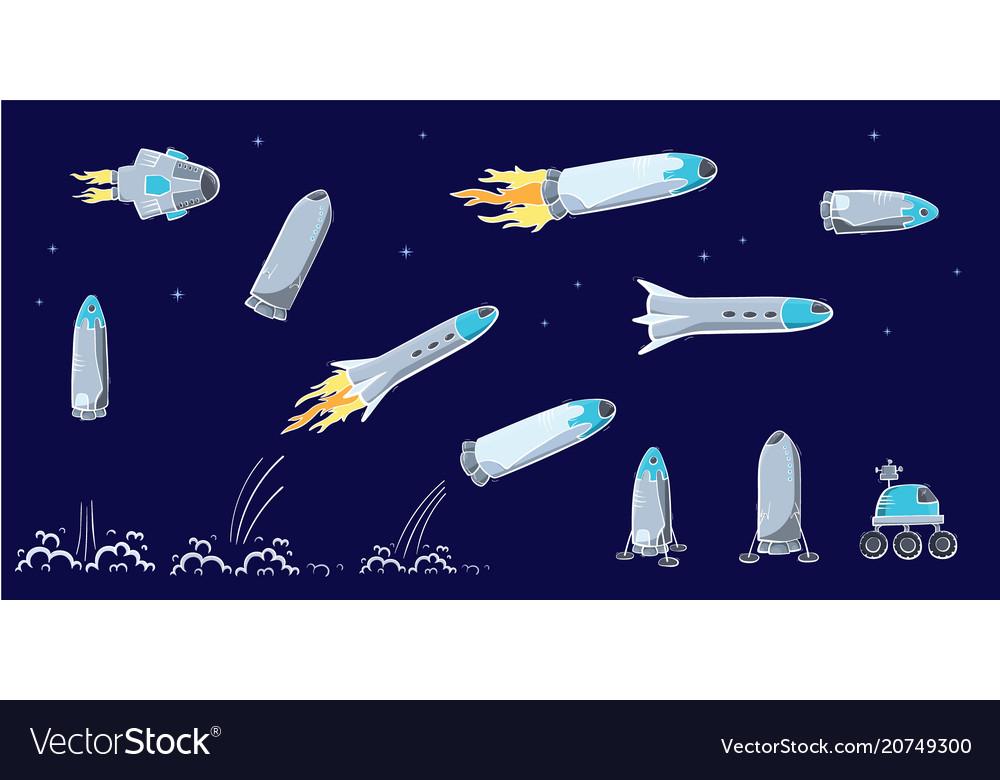 Set of of space ship rocket