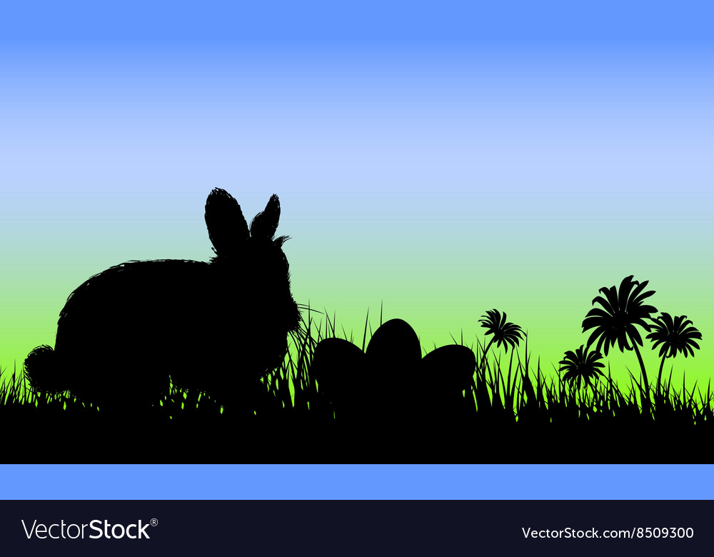 Silhouette of a Bunny with Easter Eggs