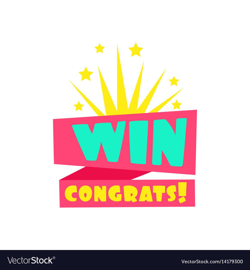 win congratulations sticker design template for vector image