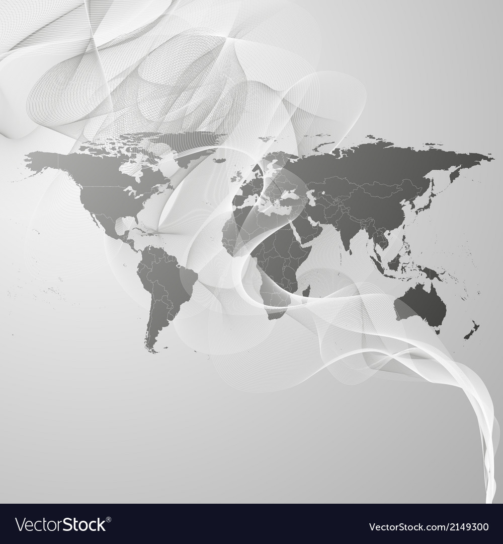 World map on the gray smoke background
