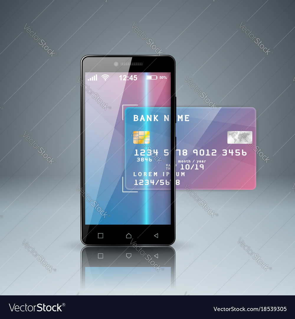 Bank card smartphone digital gadget icon