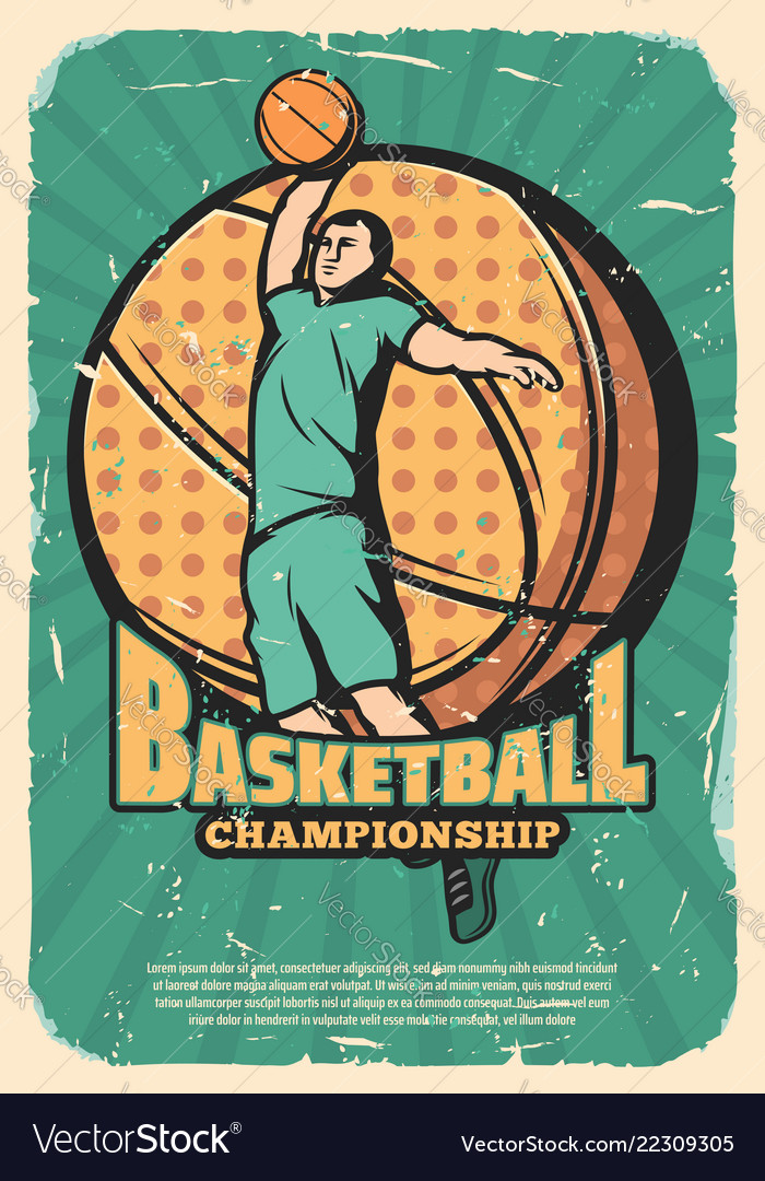 Basketball sport retro poster with player and ball