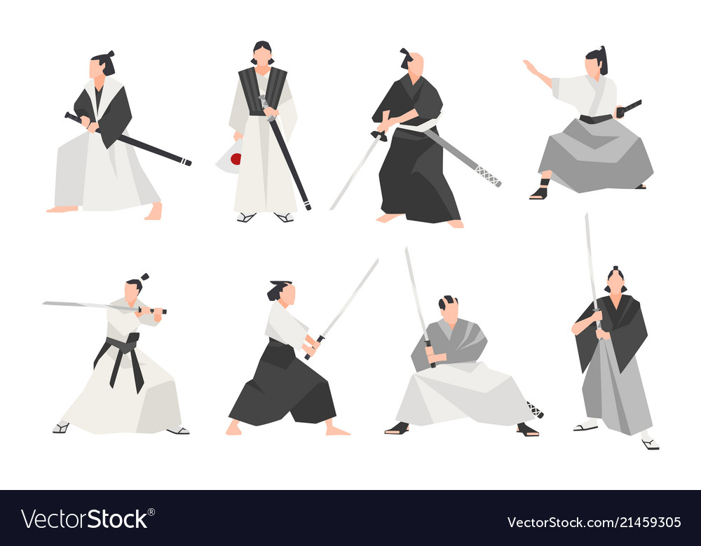 Collection of samurai isolated on white background