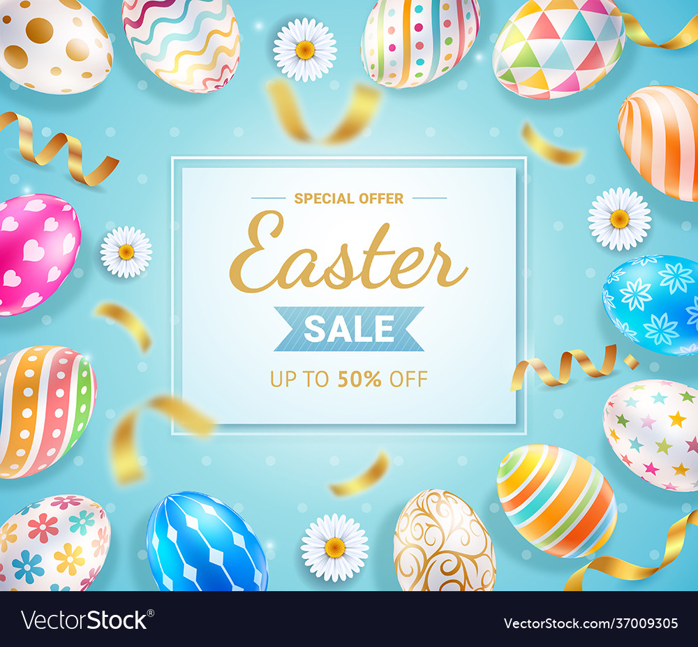Easter day banners template easter eggs and ribbon