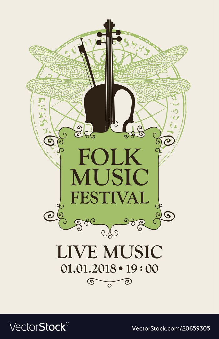 Folk music festival poster with violin and bow