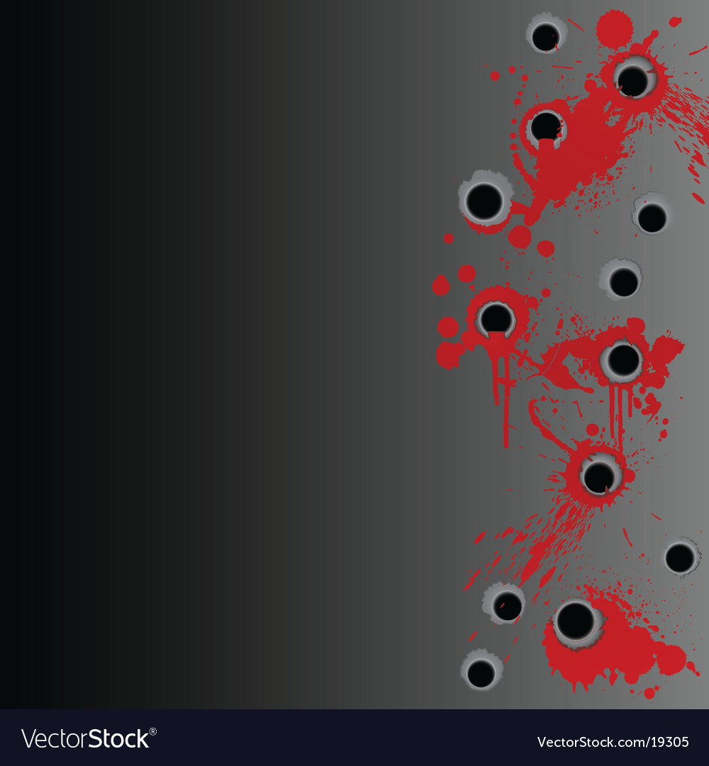 Gunshot blood splatter border background vector image