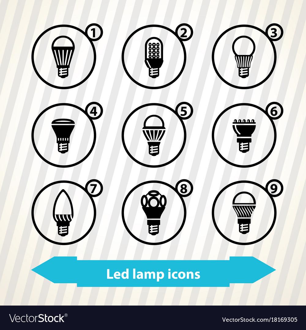 Led lamp icons
