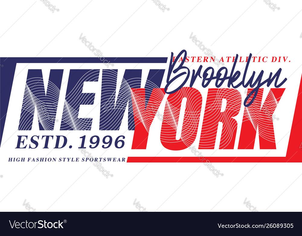 New york 1996 sport typography t-shirt graphics