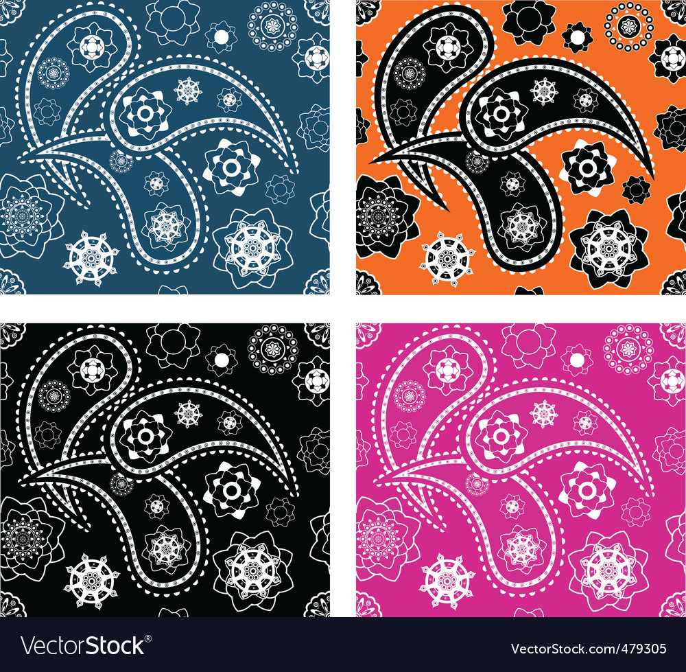 Set of four paisley patterns