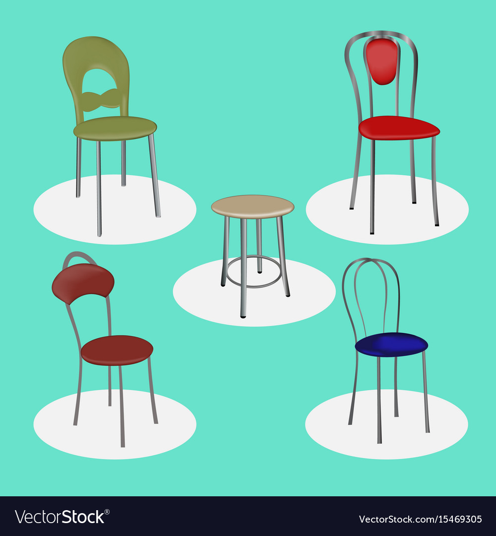 Set of metal chairs for bars cafes