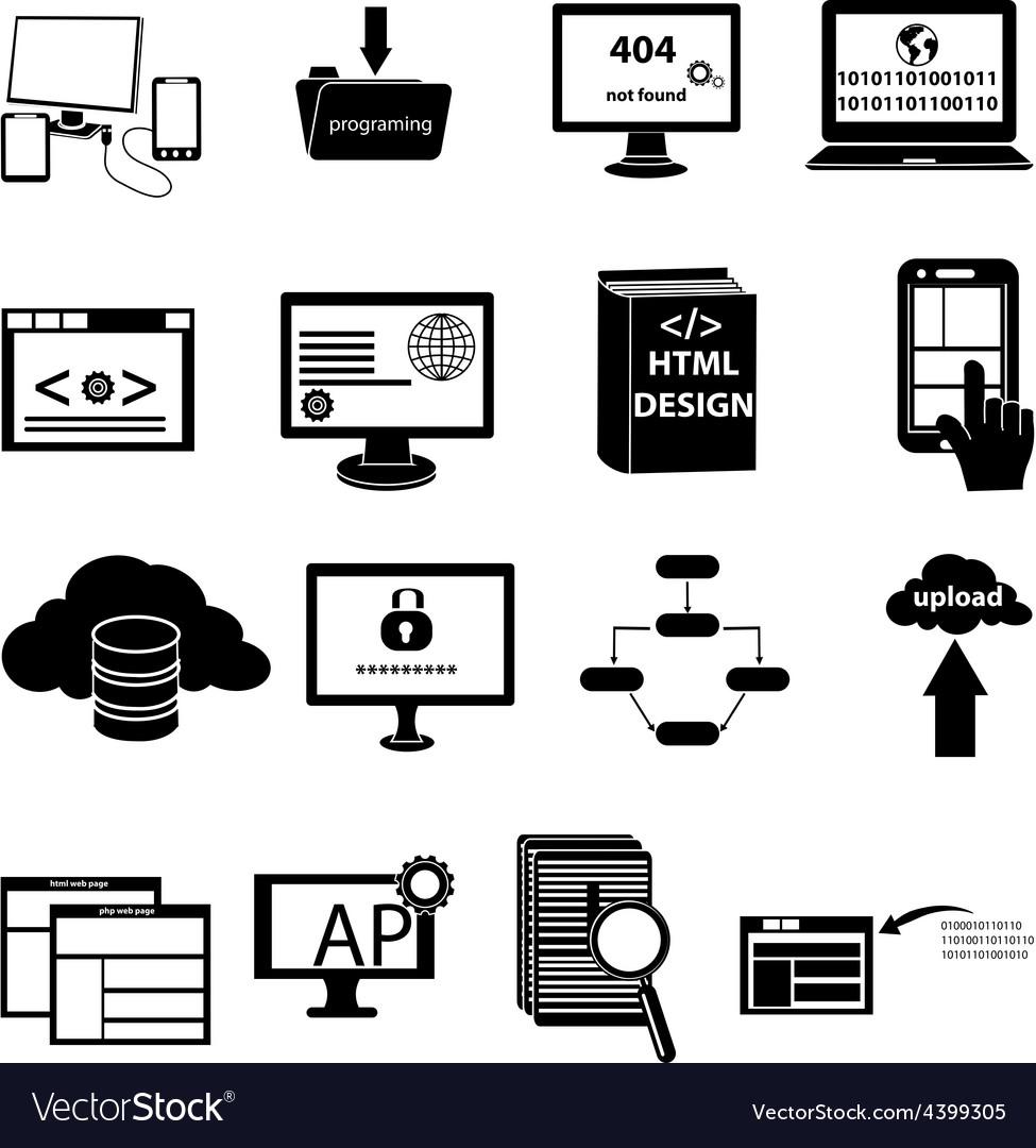 Web design programming icons set