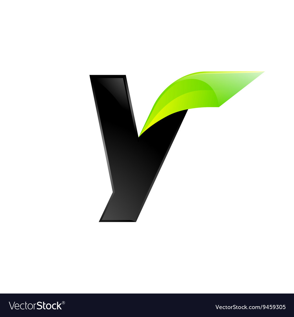 Y letter black and green logo design Fast speed