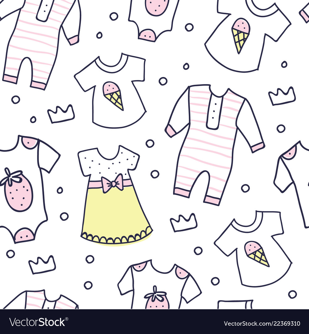 472501eff2e9 Baby shower seamless pattern of baby girl clothes Vector Image