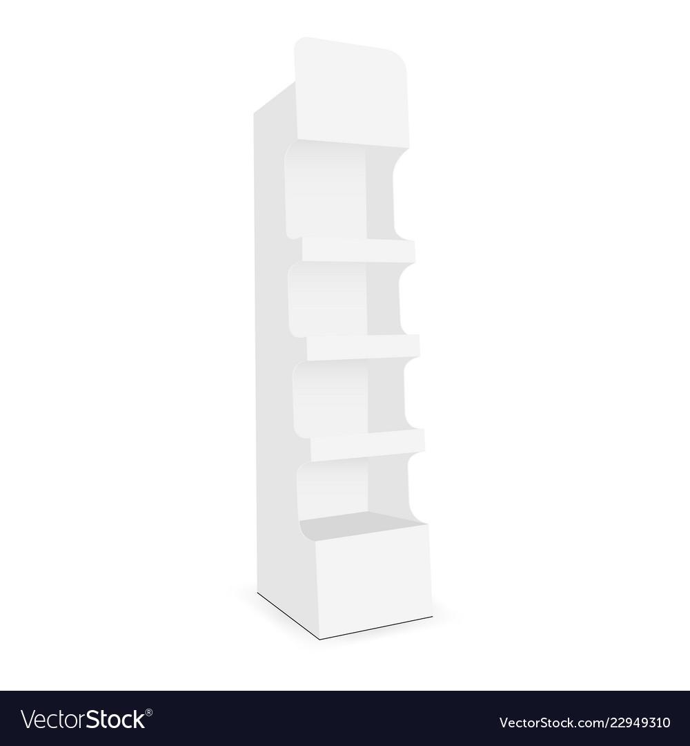 Cardboard Display Stand With 4 Shelf Vector Image