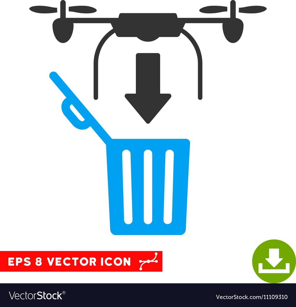 Drone Drop Trash Eps Icon vector image