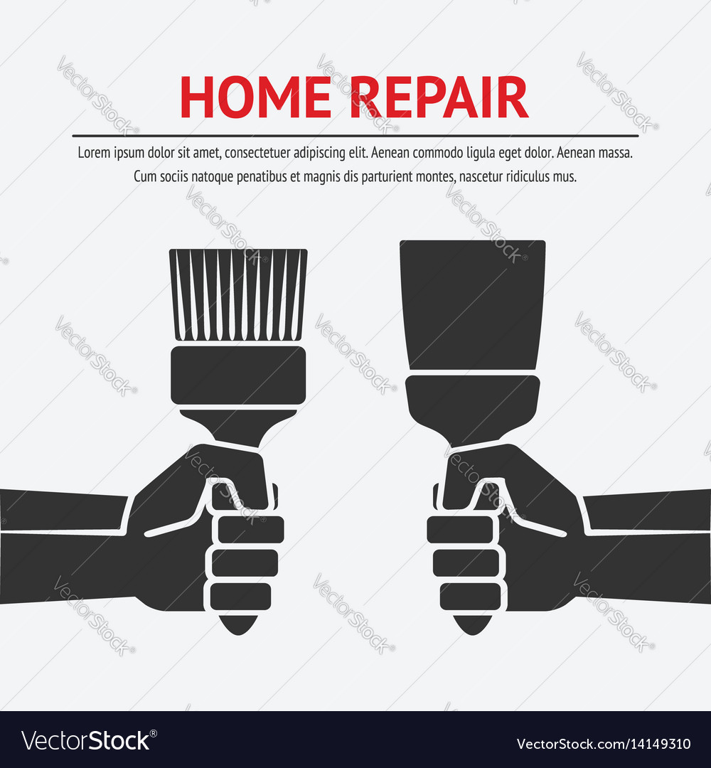 Hand with trowel and brush home repair concept