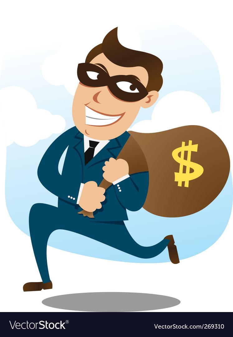 man wearing suit stealing money royalty free vector image