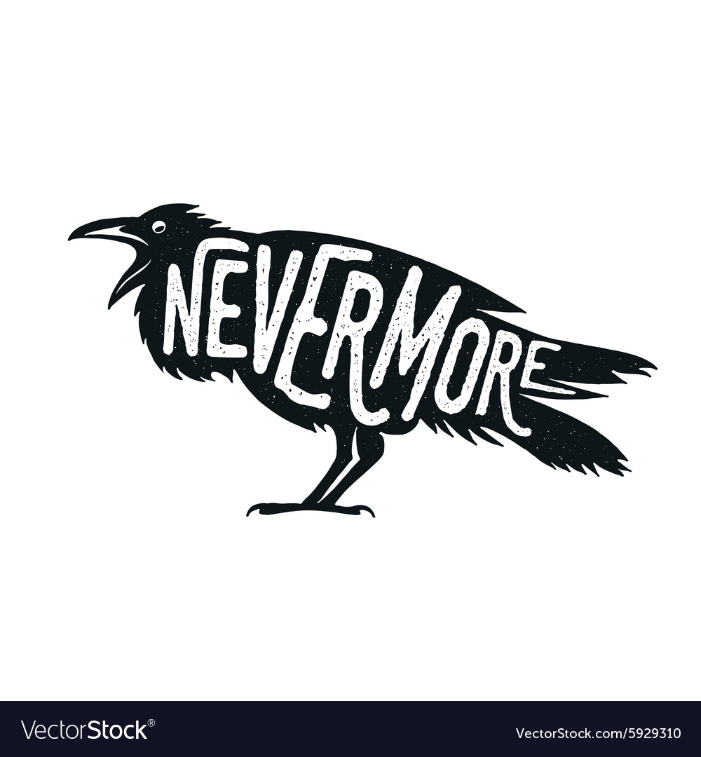 Raven with word Nevermore vector image