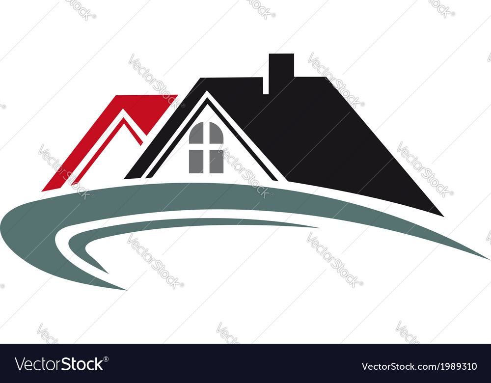 Real estate icon with house roof vector image
