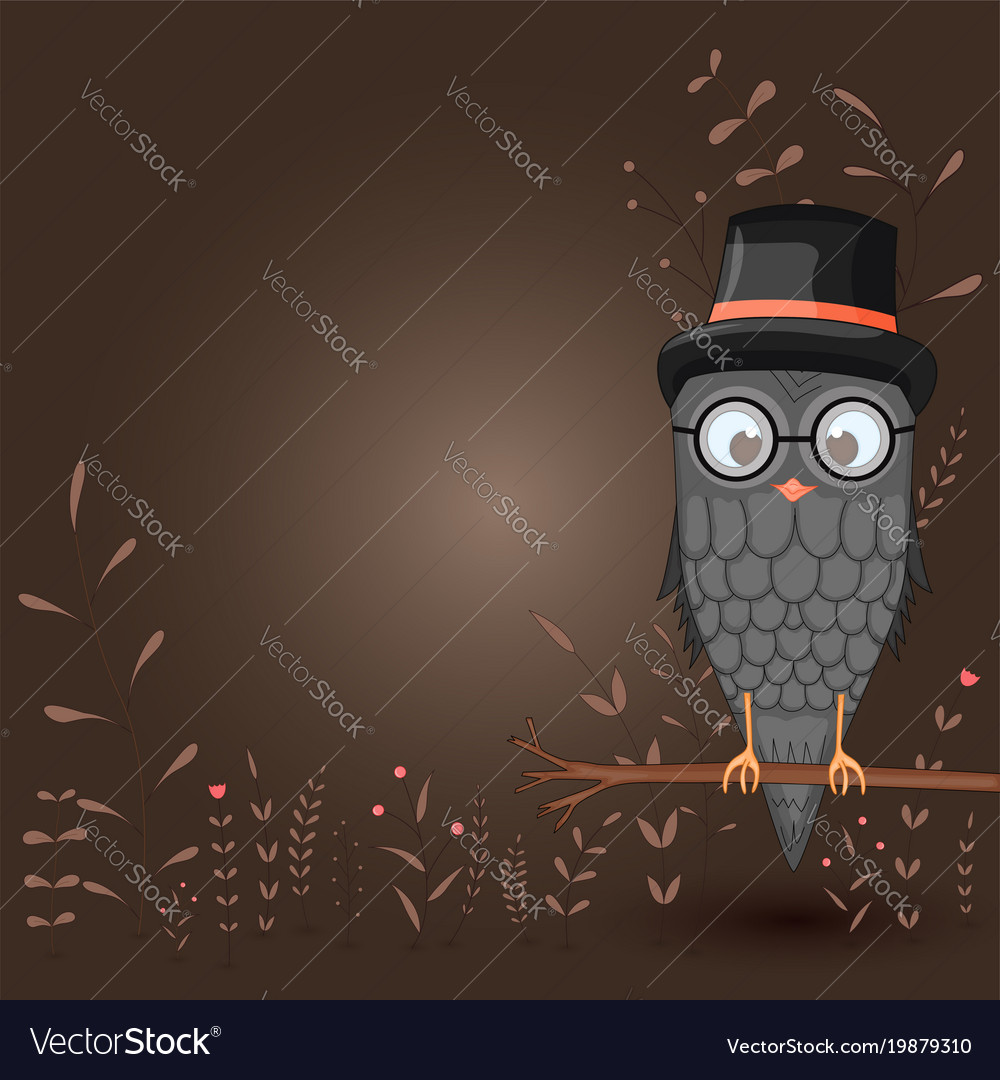 Template for text with cartoon bird owl in the