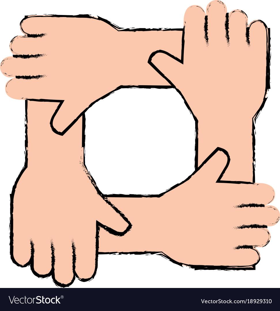 United teamwork hands icon