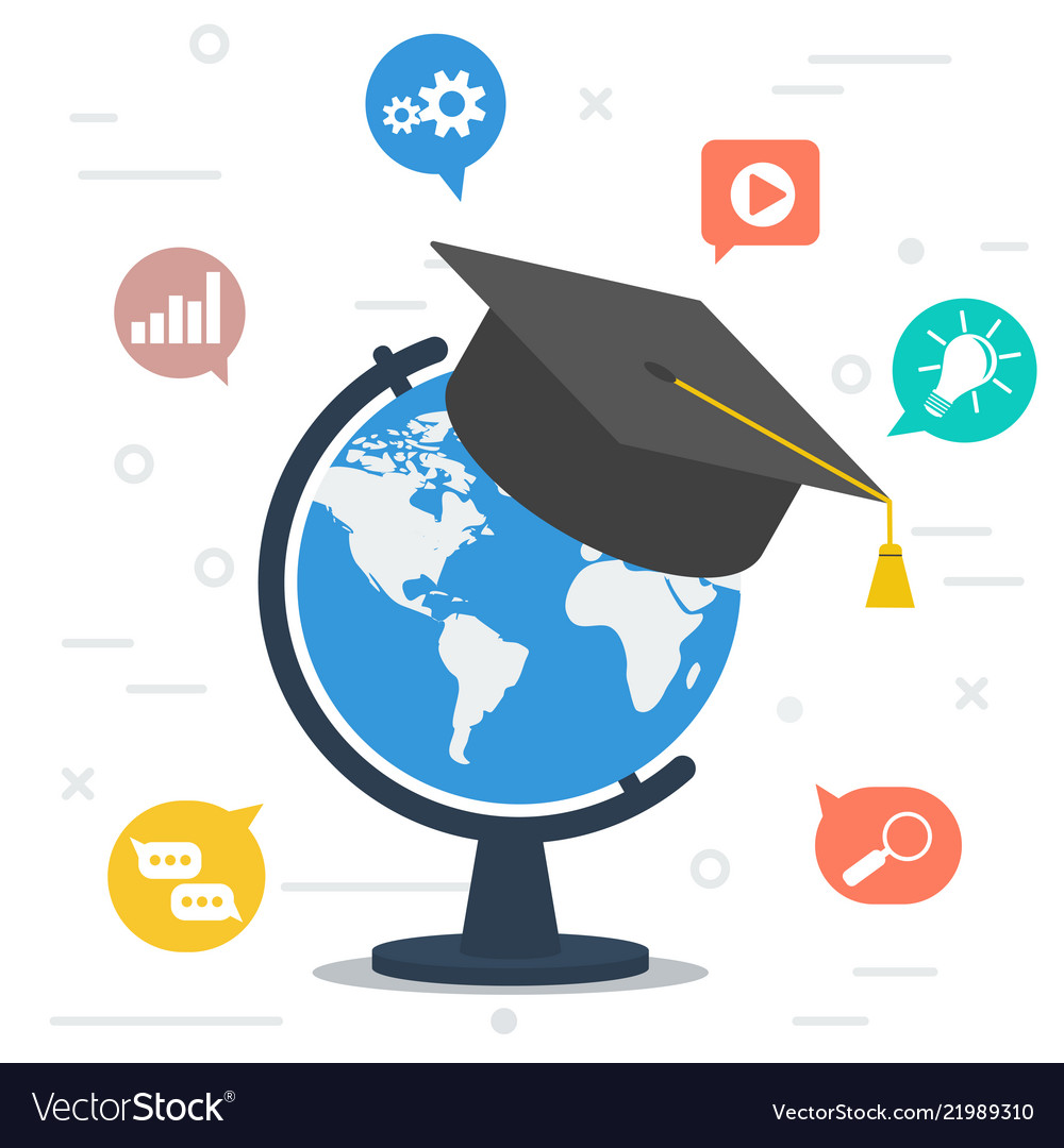 Worldwide education globe with student hat at top