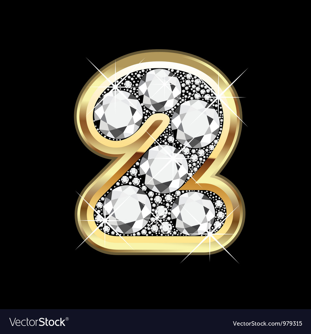 2 number gold and diamond