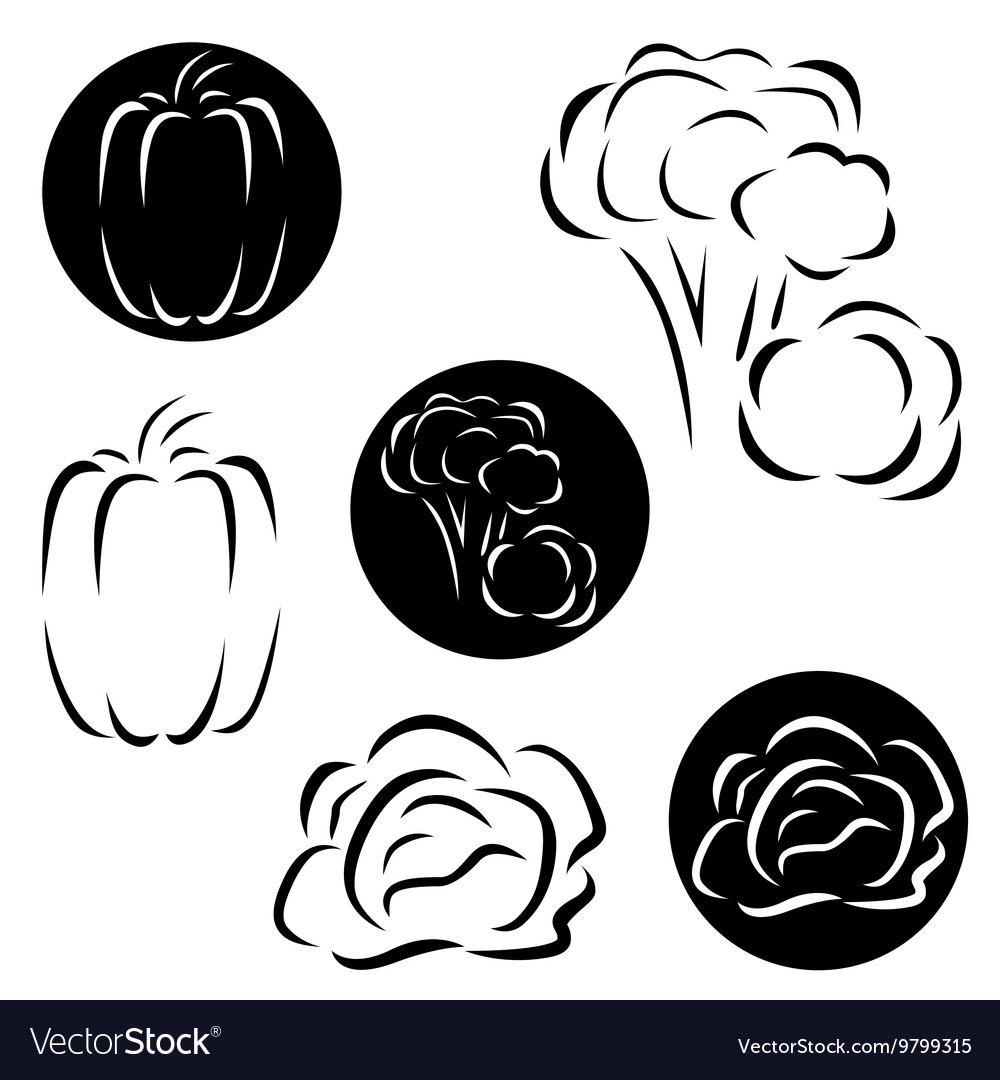 A small set of vegetables logos