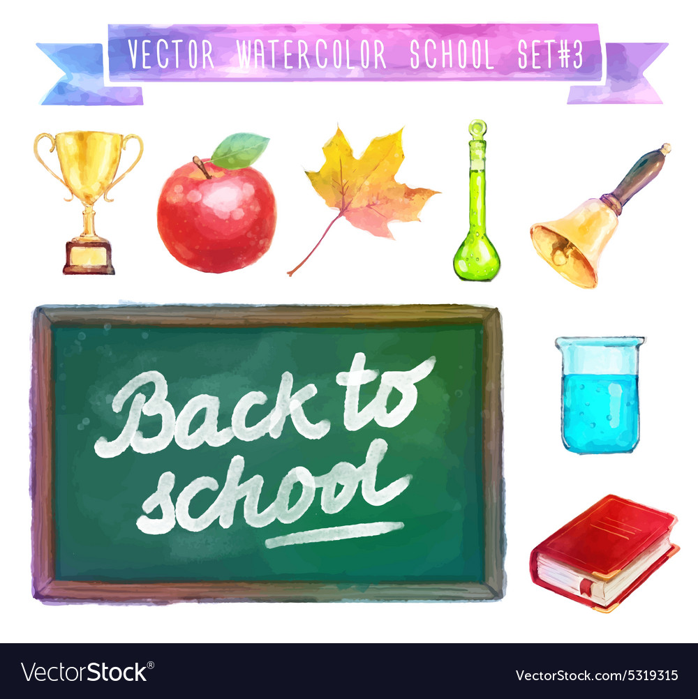 Back to school Watercolor with