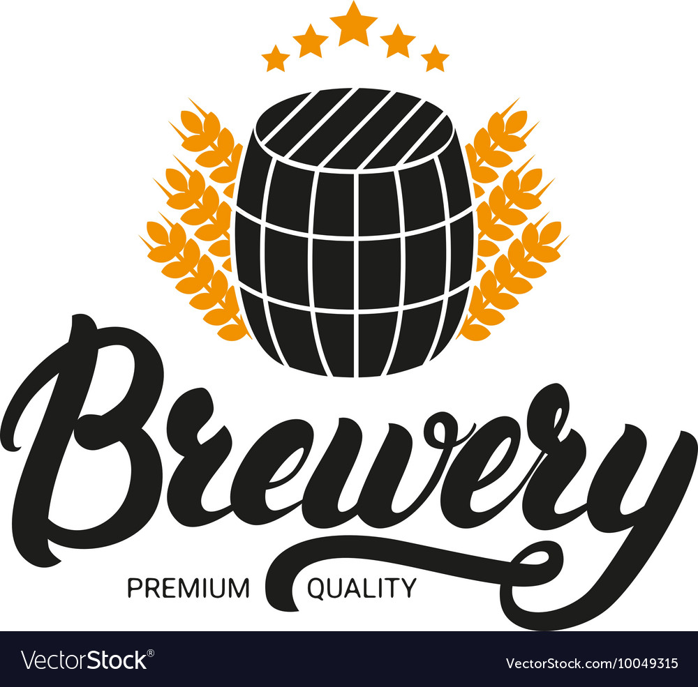 Brewery lettering logo label badge with sign of