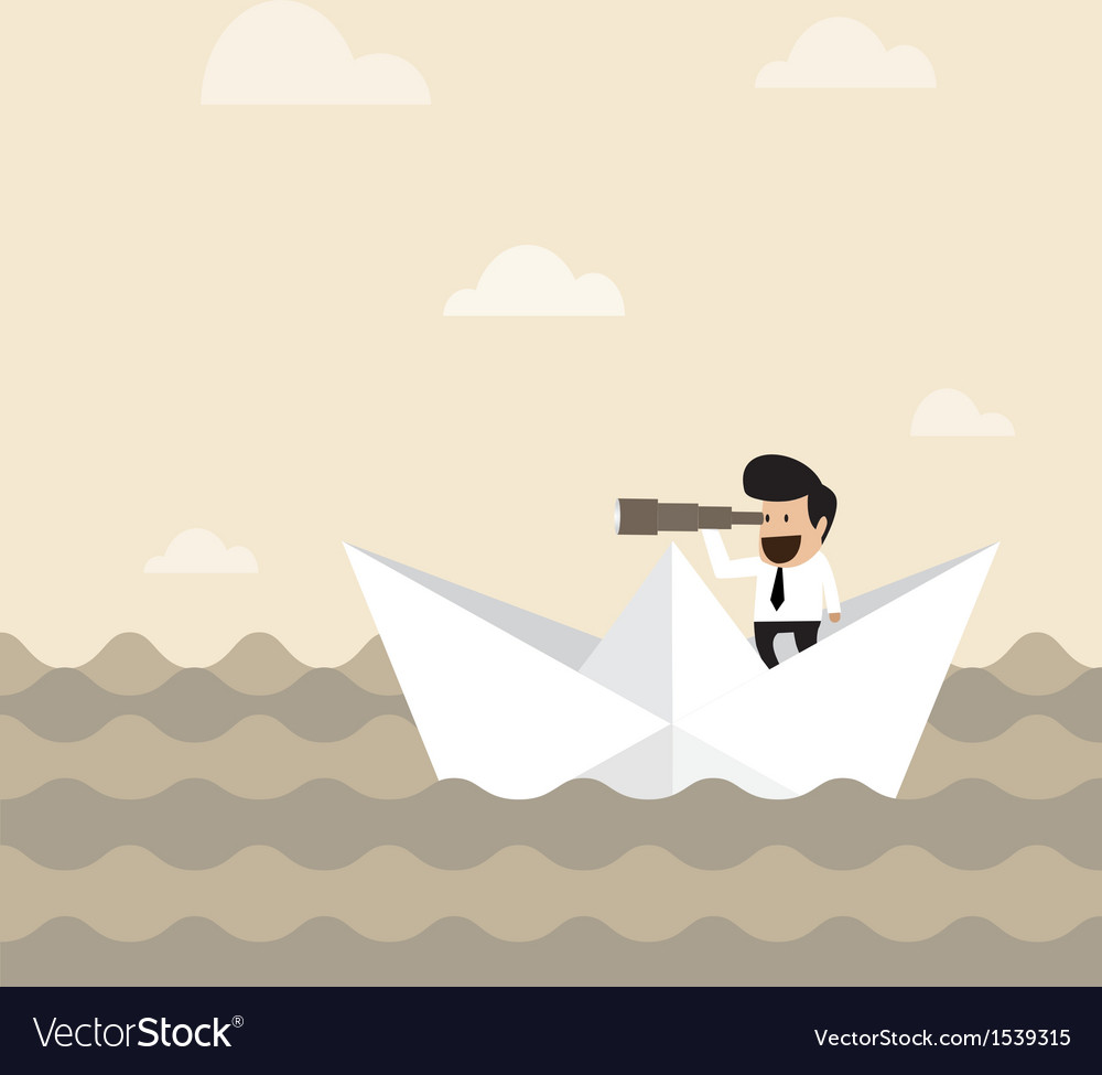 Businessman on paper boat searching for opportunit