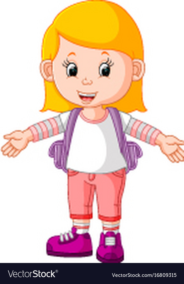 Cute girl go to school cartoon Royalty Free Vector Image c7f4ca90f949d