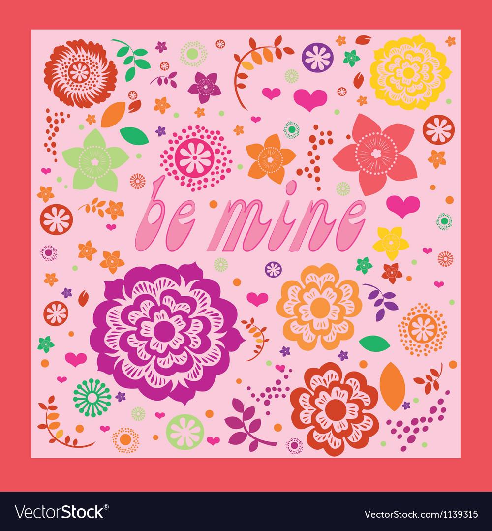 Floral ornamental valentine greeting card