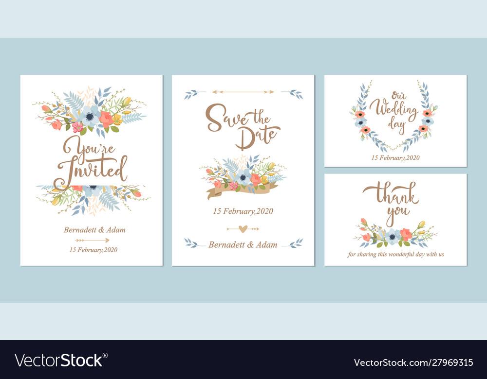 Floral wedding invitations design templates