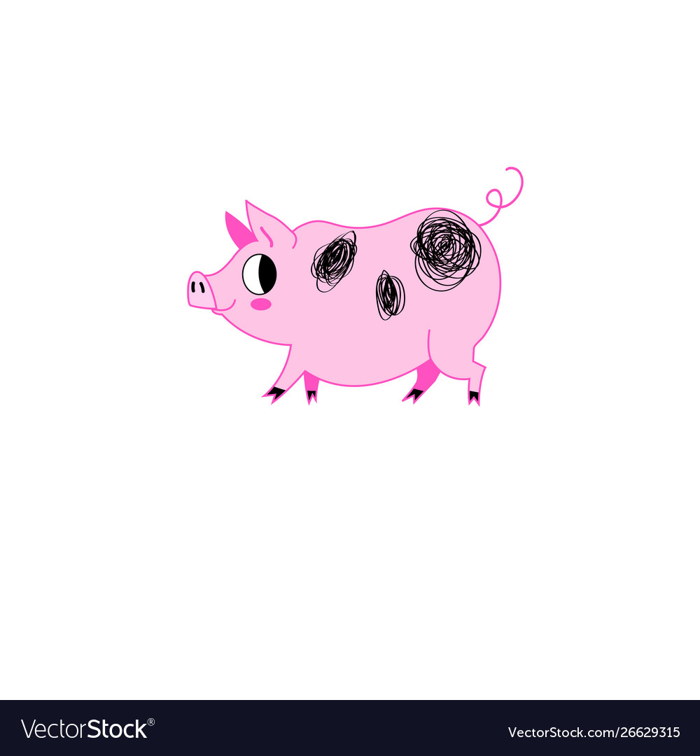 Funny pink pig on a white background