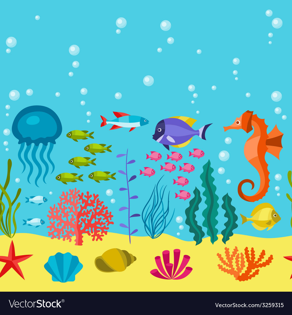 Marine life seamless pattern with sea animals