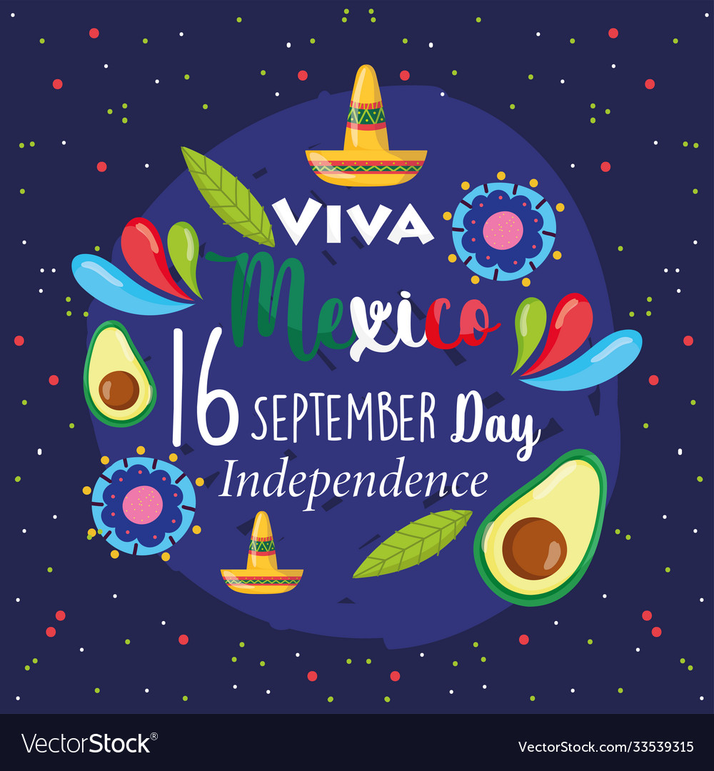Mexican independence day lettering avocado