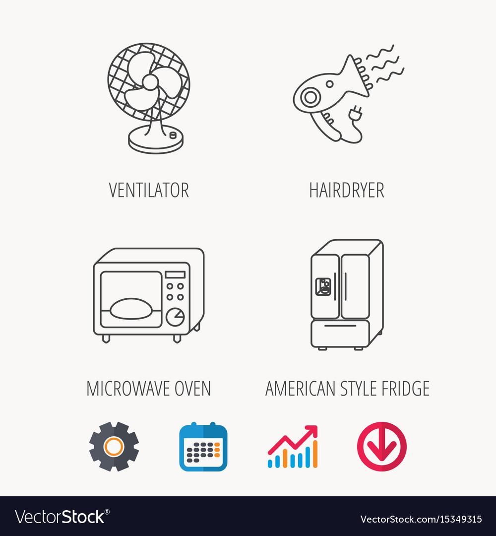 Microwave oven hair dryer ventilator icons